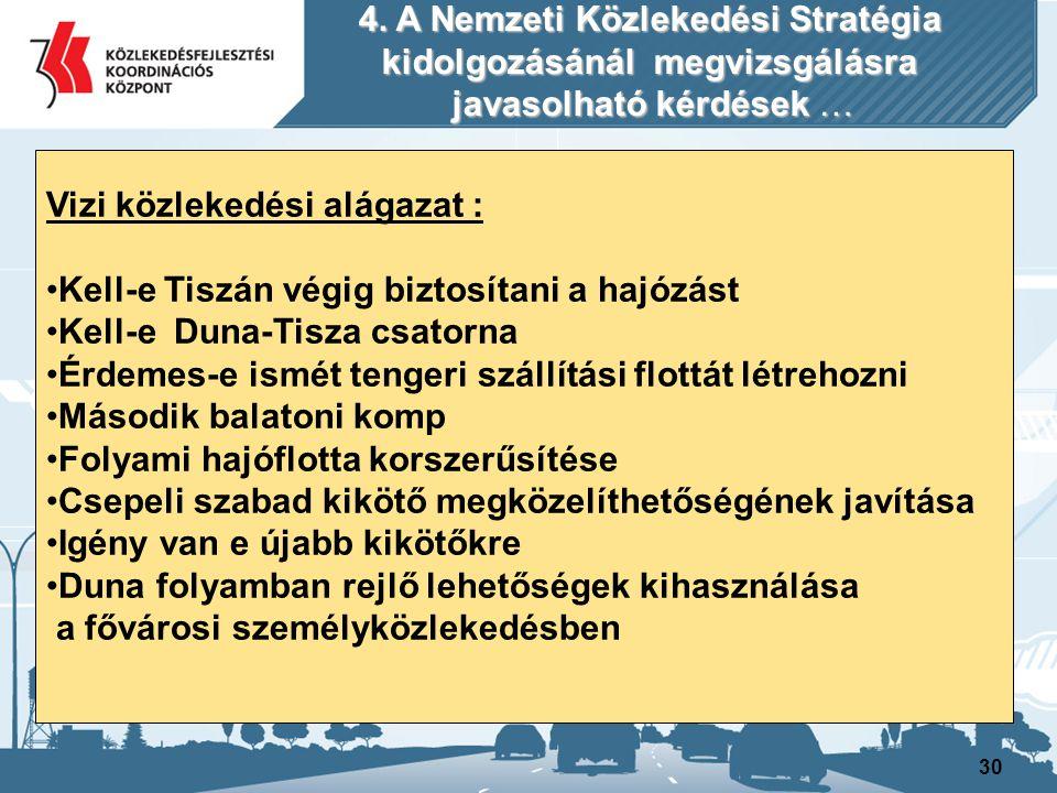 30 Vizi közlekedési alágazat : Kell-e Tiszán végig biztosítani a hajózást Kell-e Duna-Tisza csatorna Érdemes-e ismét tengeri szállítási flottát létreh