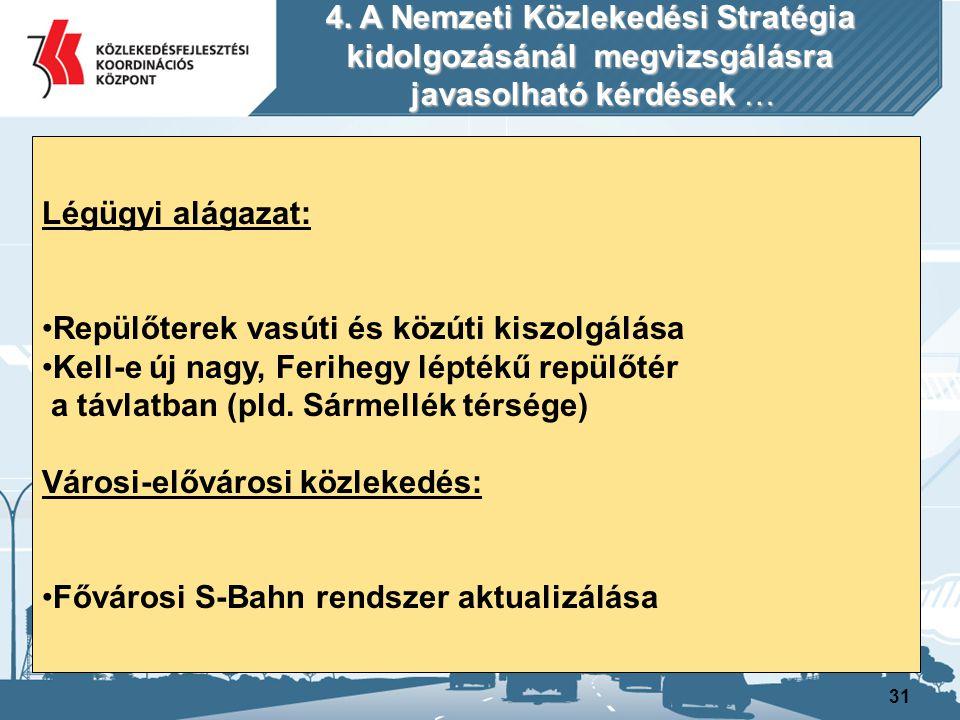 31 Légügyi alágazat: Repülőterek vasúti és közúti kiszolgálása Kell-e új nagy, Ferihegy léptékű repülőtér a távlatban (pld. Sármellék térsége) Városi-