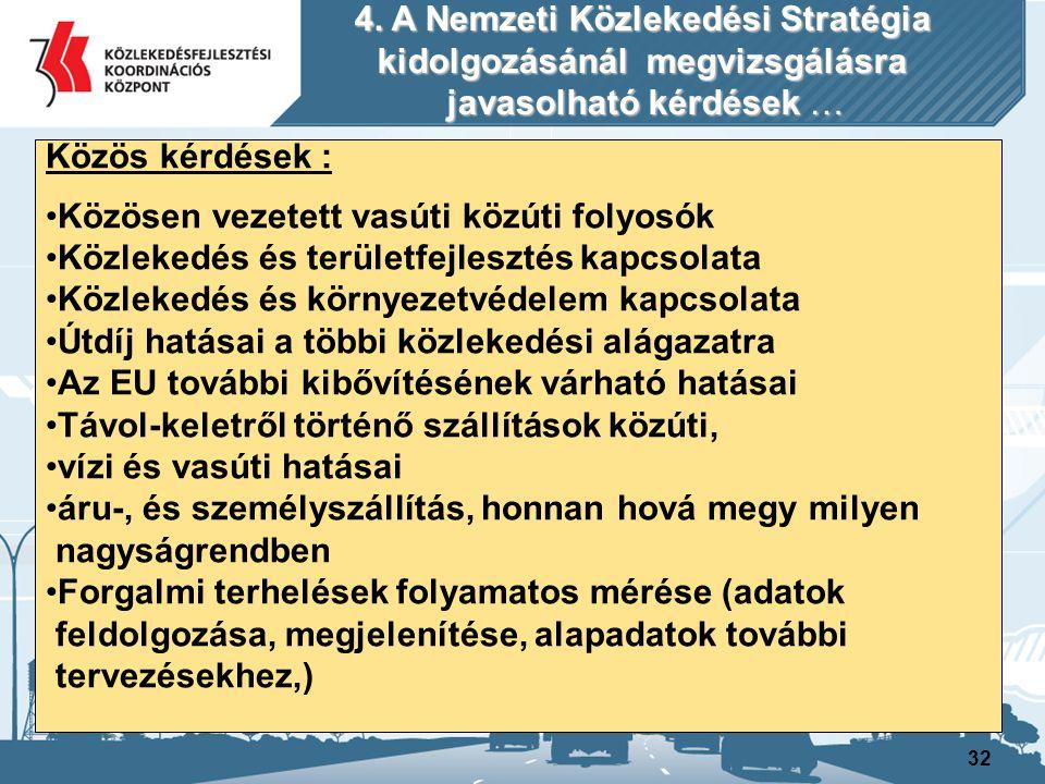 32 Közös kérdések : Közösen vezetett vasúti közúti folyosók Közlekedés és területfejlesztés kapcsolata Közlekedés és környezetvédelem kapcsolata Útdíj