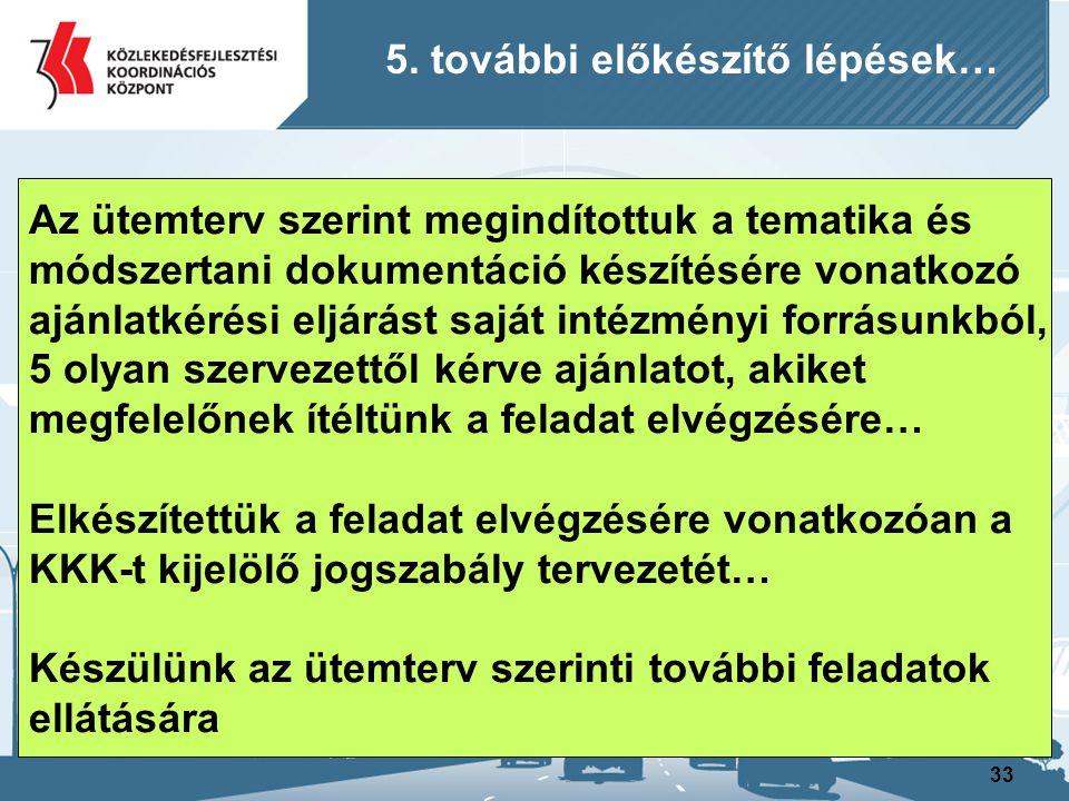 33 Az ütemterv szerint megindítottuk a tematika és módszertani dokumentáció készítésére vonatkozó ajánlatkérési eljárást saját intézményi forrásunkból