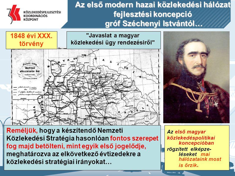 Az első modern hazai közlekedési hálózat fejlesztési koncepció gróf Széchenyi Istvántól… 1848 évi XXX. törvény