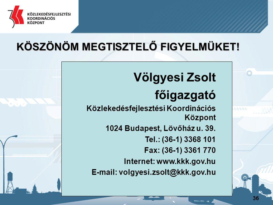 36 KÖSZÖNÖM MEGTISZTELŐ FIGYELMÜKET! Völgyesi Zsolt főigazgató Közlekedésfejlesztési Koordinációs Központ 1024 Budapest, Lövőház u. 39. Tel.: (36-1) 3