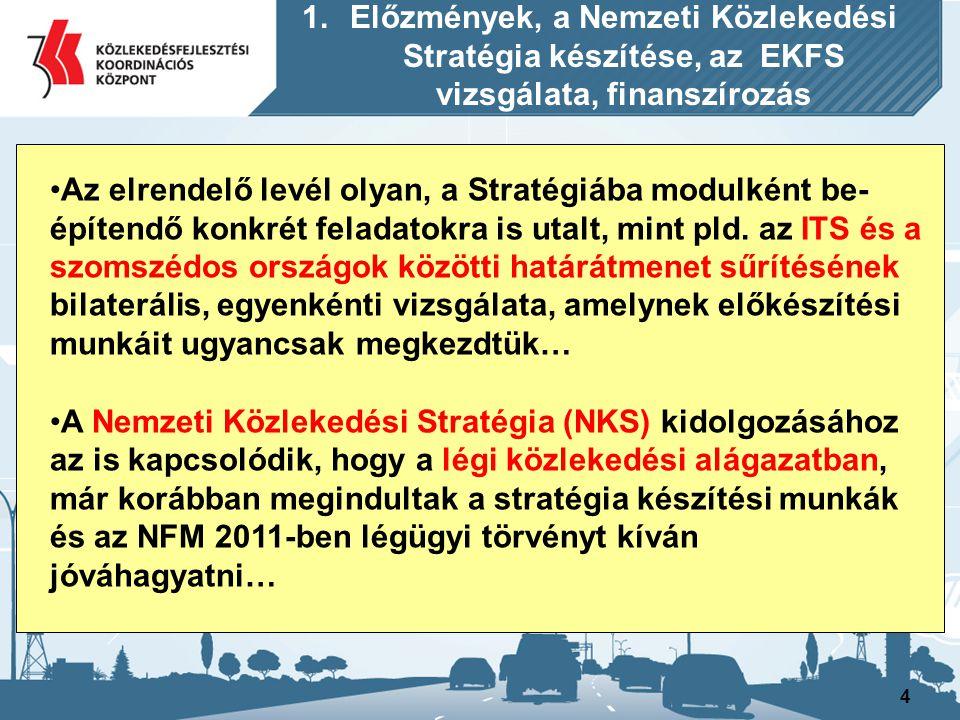 4 Az elrendelő levél olyan, a Stratégiába modulként be- építendő konkrét feladatokra is utalt, mint pld. az ITS és a szomszédos országok közötti határ
