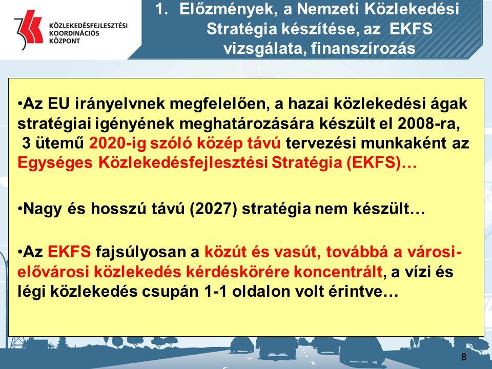 8 Az EU irányelvnek megfelelően, a hazai közlekedési ágak stratégiai igényének meghatározására készült el 2008-ra, 3 ütemű 2020-ig szóló közép távú te