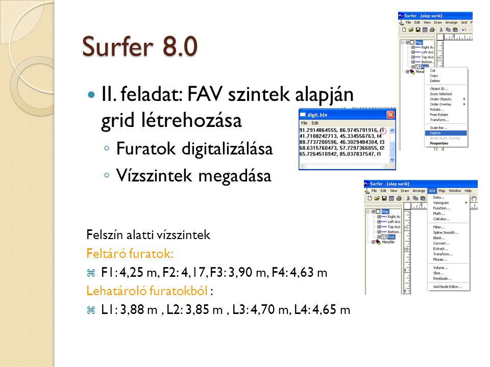 Surfer 8.0 II. feladat: FAV szintek alapján grid létrehozása ◦ Furatok digitalizálása ◦ Vízszintek megadása Felszín alatti vízszintek Feltáró furatok: