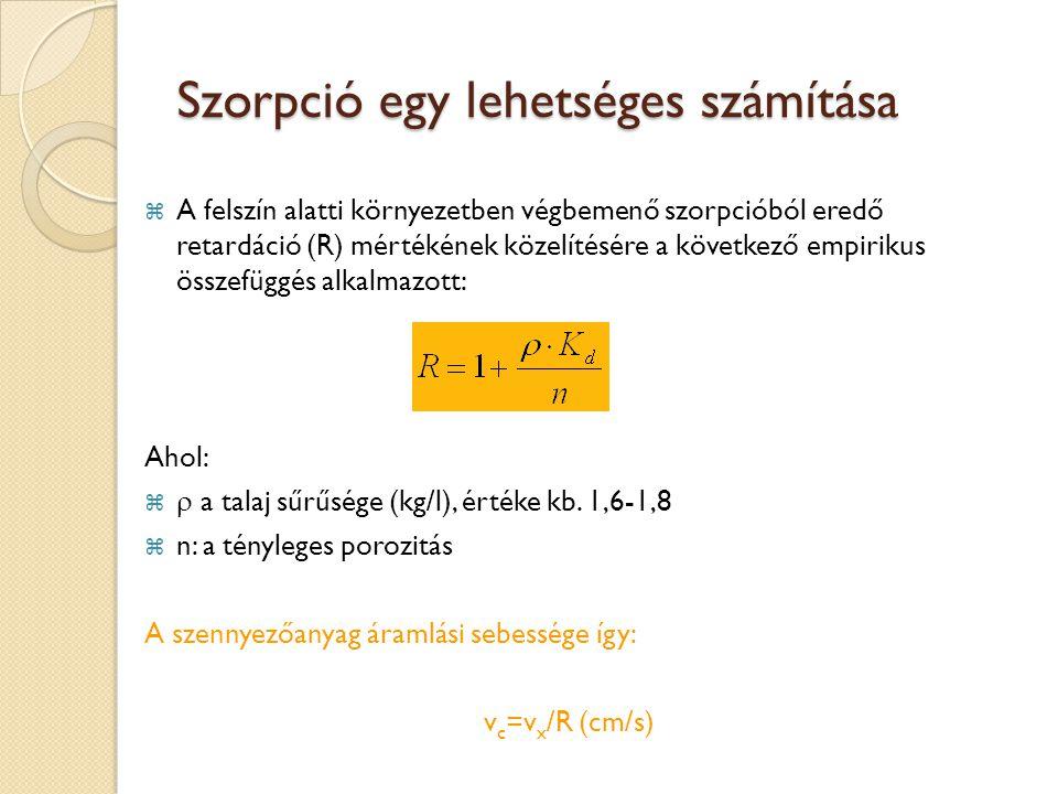 Szorpció egy lehetséges számítása  A felszín alatti környezetben végbemenő szorpcióból eredő retardáció (R) mértékének közelítésére a következő empirikus összefüggés alkalmazott: Ahol:   a talaj sűrűsége (kg/l), értéke kb.