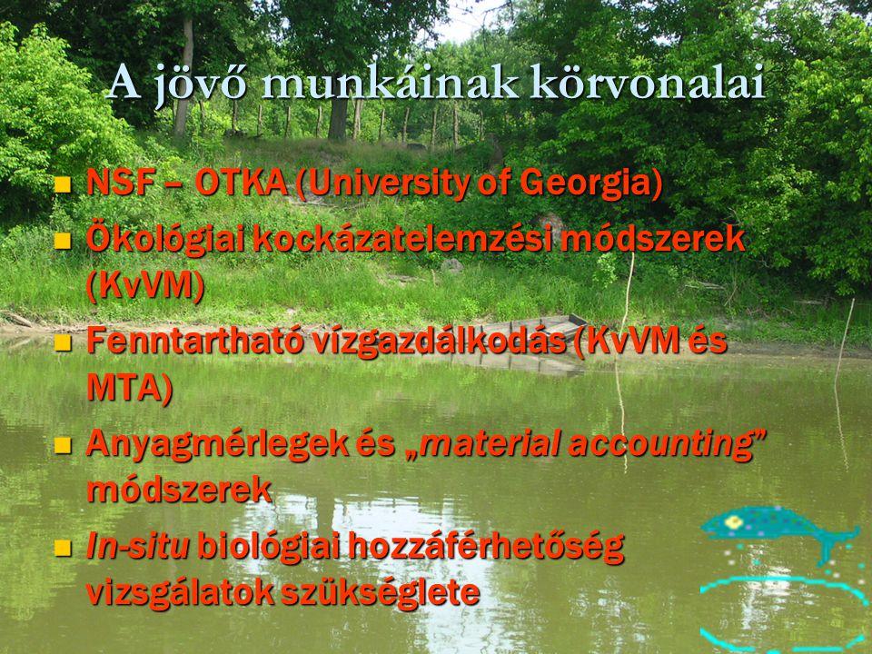A jövő munkáinak körvonalai NSF – OTKA (University of Georgia) NSF – OTKA (University of Georgia) Ökológiai kockázatelemzési módszerek (KvVM) Ökológia