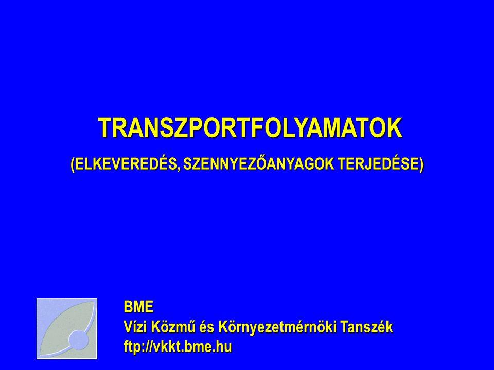 TRANSZPORTFOLYAMATOK TRANSZPORTFOLYAMATOK (ELKEVEREDÉS, SZENNYEZŐANYAGOK TERJEDÉSE) BME Vízi Közmű és Környezetmérnöki Tanszék ftp://vkkt.bme.hu