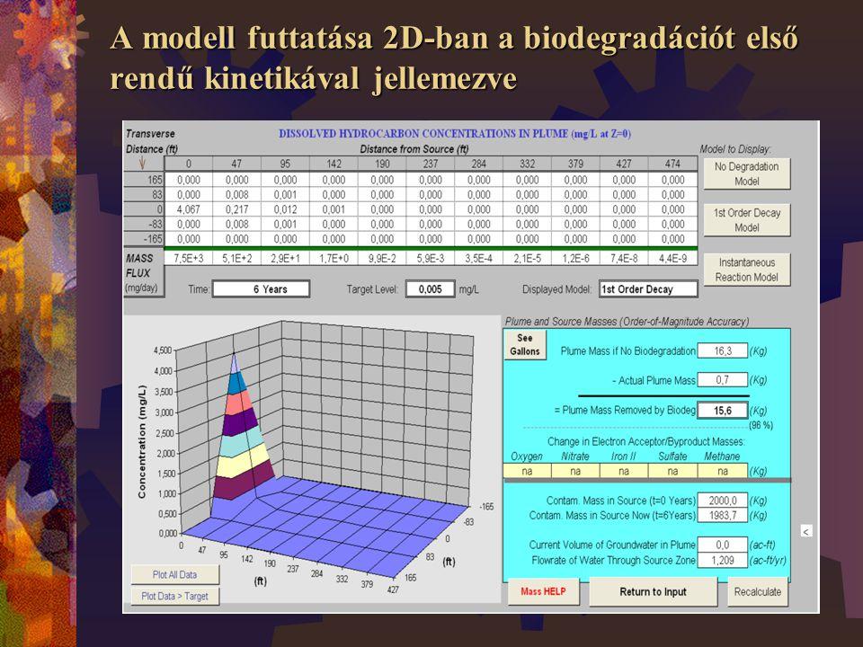 A modell futtatása 2D-ban a biodegradációt első rendű kinetikával jellemezve
