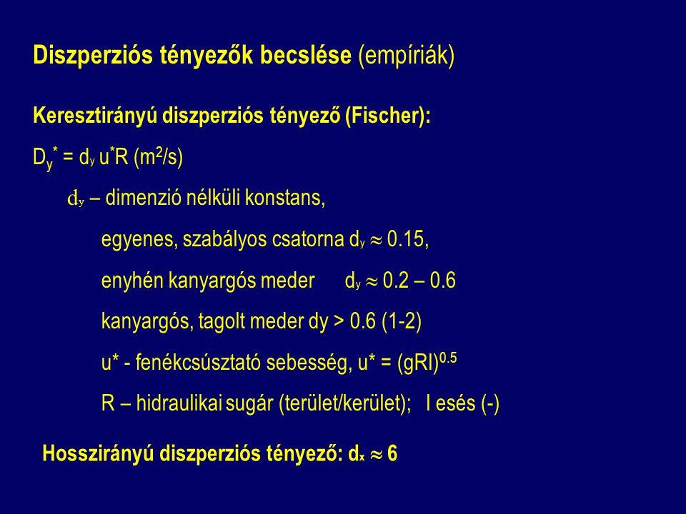 Diszperziós tényezők becslése (empíriák) Keresztirányú diszperziós tényező (Fischer): D y * = d y u * R (m 2 /s) d y – dimenzió nélküli konstans, egyenes, szabályos csatorna d y  0.15, enyhén kanyargós meder d y  0.2 – 0.6 kanyargós, tagolt meder dy > 0.6 (1-2) u* - fenékcsúsztató sebesség, u* = (gRI) 0.5 R – hidraulikai sugár (terület/kerület); I esés (-) Hosszirányú diszperziós tényező: d x  6