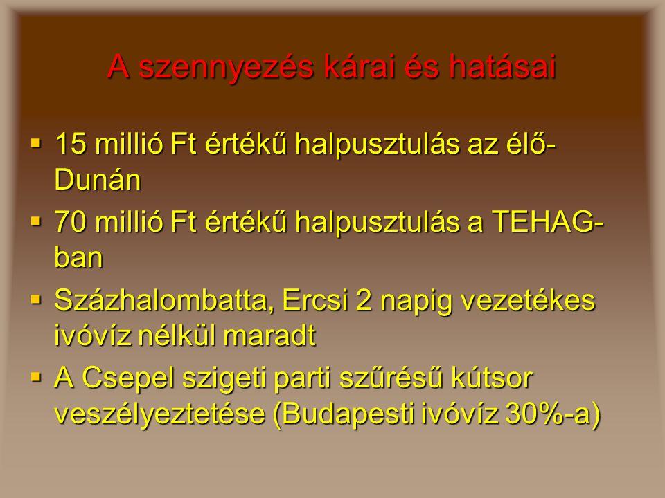 A szennyezés kárai és hatásai  15 millió Ft értékű halpusztulás az élő- Dunán  70 millió Ft értékű halpusztulás a TEHAG- ban  Százhalombatta, Ercsi 2 napig vezetékes ivóvíz nélkül maradt  A Csepel szigeti parti szűrésű kútsor veszélyeztetése (Budapesti ivóvíz 30%-a)