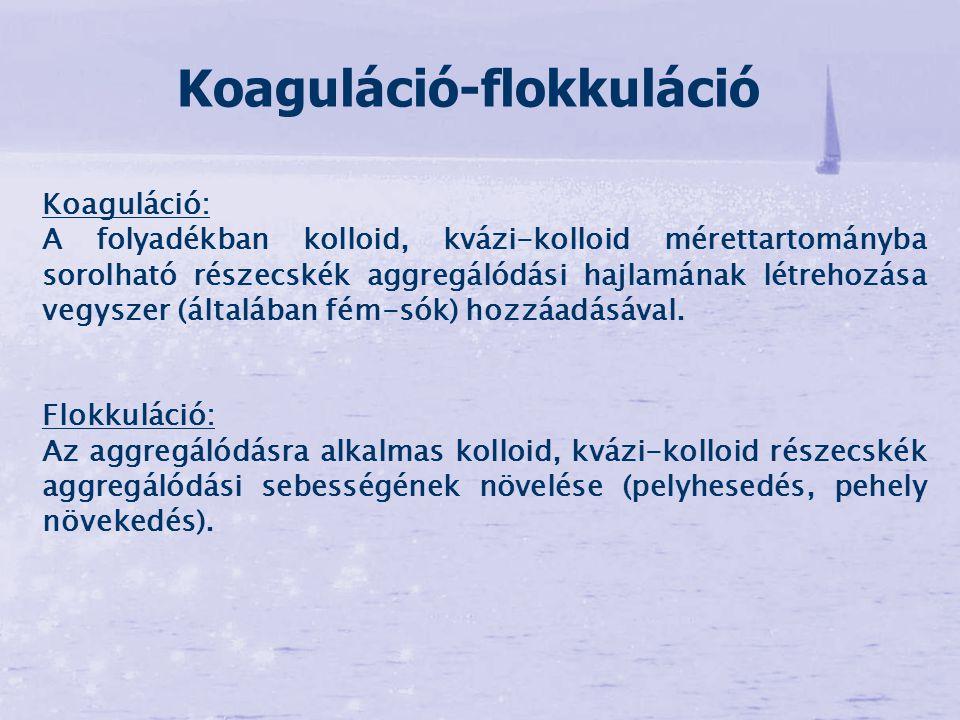 Koaguláció: A folyadékban kolloid, kvázi-kolloid mérettartományba sorolható részecskék aggregálódási hajlamának létrehozása vegyszer (általában fém-só
