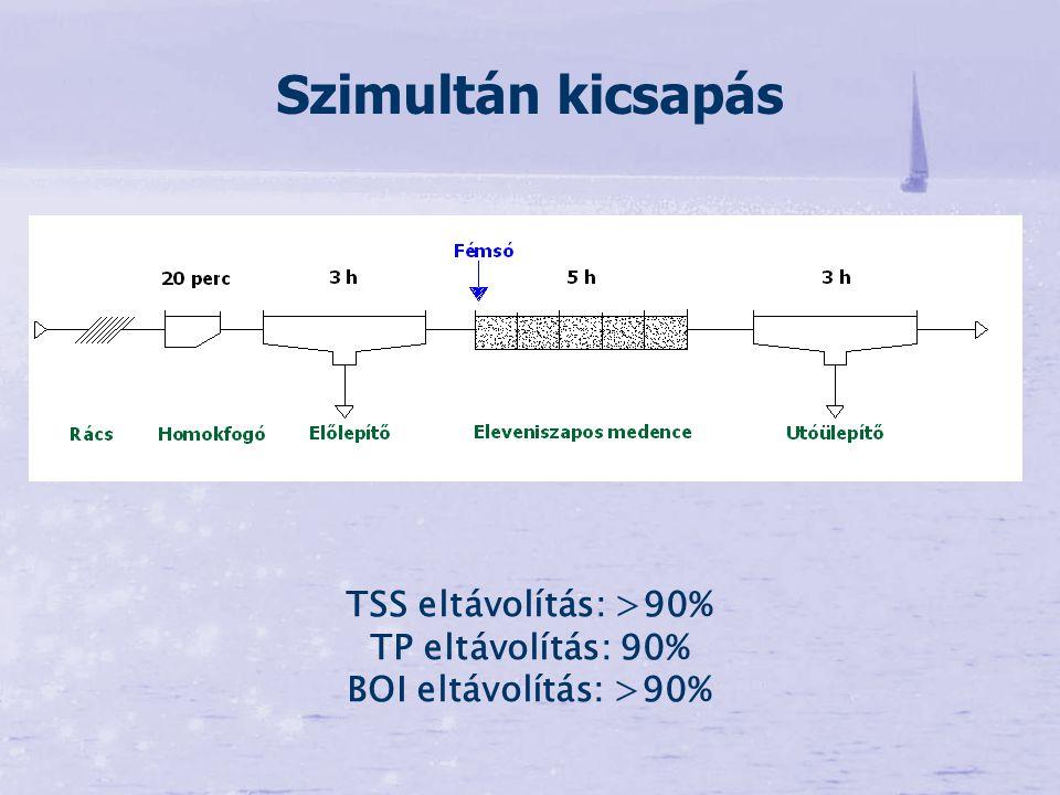 Szimultán kicsapás TSS eltávolítás: >90% TP eltávolítás: 90% BOI eltávolítás: >90%