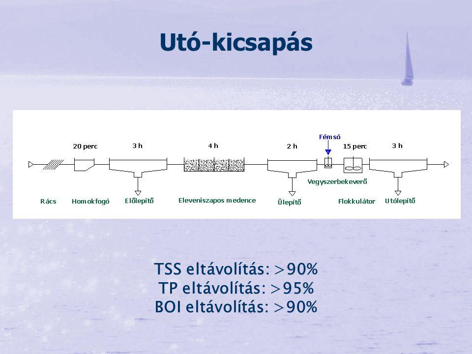 Utó-kicsapás TSS eltávolítás: >90% TP eltávolítás: >95% BOI eltávolítás: >90%