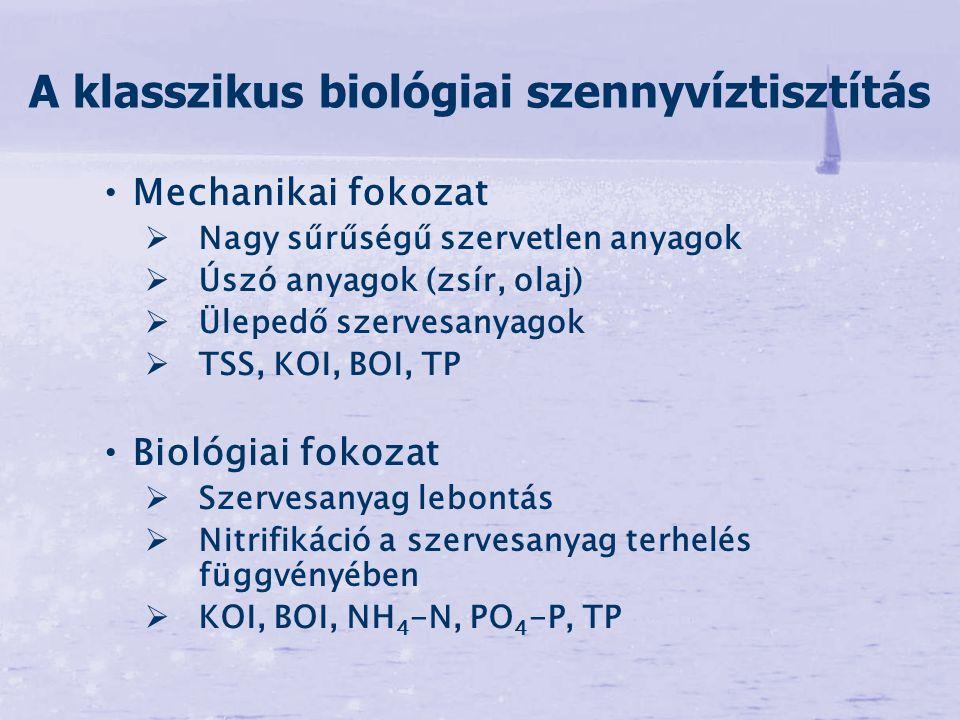 Mechanikai fokozat   Nagy sűrűségű szervetlen anyagok   Úszó anyagok (zsír, olaj)   Ülepedő szervesanyagok   TSS, KOI, BOI, TP Biológiai fokoz