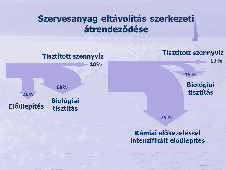 Szervesanyag eltávolítás szerkezeti átrendeződése Előülepítés Biológiai tisztítás Tisztított szennyvíz Kémiai előkezeléssel intenzifikált előülepítés