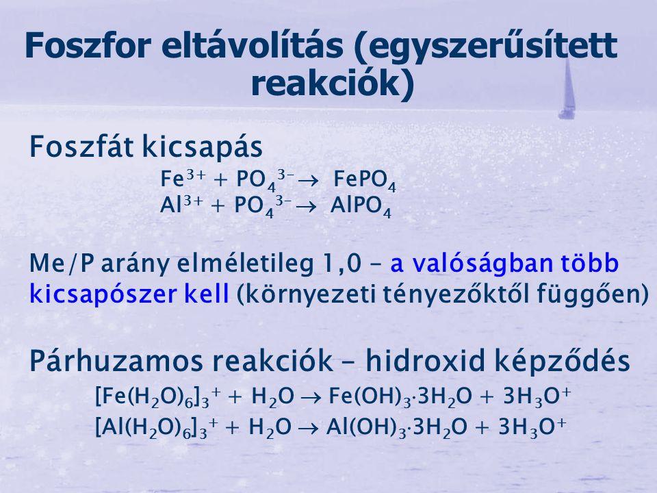 Foszfát kicsapás Fe 3+ + PO 4 3-  FePO 4 Al 3+ + PO 4 3-  AlPO 4 Me/P arány elméletileg 1,0 – a valóságban több kicsapószer kell (környezeti tényező
