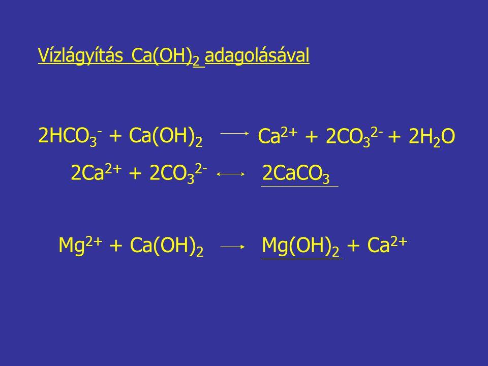 2HCO 3 - + Ca(OH) 2 Ca 2+ + 2CO 3 2- + 2H 2 O 2Ca 2+ + 2CO 3 2- 2CaCO 3 Mg 2+ + Ca(OH) 2 Mg(OH) 2 + Ca 2+ Vízlágyítás Ca(OH) 2 adagolásával