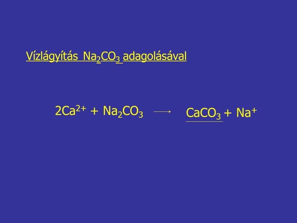 Vízlágyítás Na 2 CO 3 adagolásával 2Ca 2+ + Na 2 CO 3 CaCO 3 + Na +
