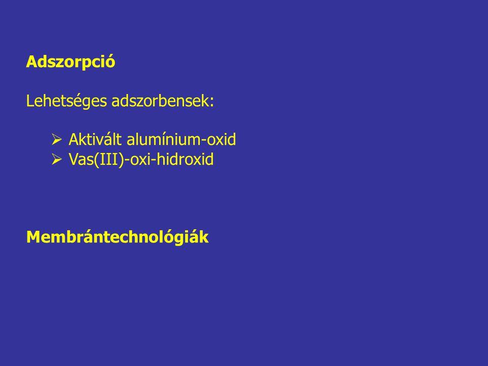 Adszorpció Lehetséges adszorbensek:  Aktivált alumínium-oxid  Vas(III)-oxi-hidroxid Membrántechnológiák