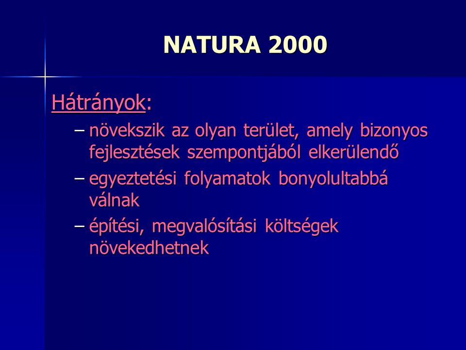 Hátrányok: –növekszik az olyan terület, amely bizonyos fejlesztések szempontjából elkerülendő –egyeztetési folyamatok bonyolultabbá válnak –építési, megvalósítási költségek növekedhetnek NATURA 2000