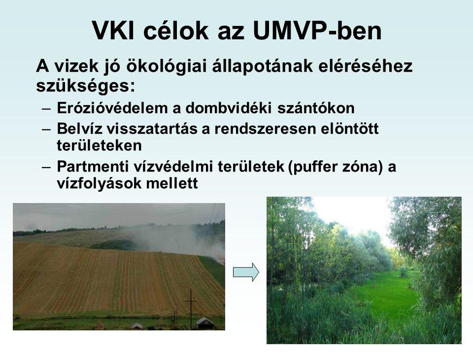 VKI célok az UMVP-ben A vizek jó ökológiai állapotának eléréséhez szükséges: –Erózióvédelem a dombvidéki szántókon –Belvíz visszatartás a rendszeresen elöntött területeken –Partmenti vízvédelmi területek (puffer zóna) a vízfolyások mellett