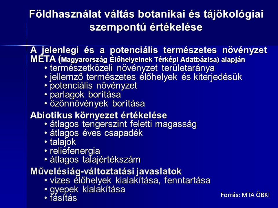 A jelenlegi és a potenciális természetes növényzet MÉTA ( Magyarország Élőhelyeinek Térképi Adatbázisa) alapján természetközeli növényzet területaránya természetközeli növényzet területaránya jellemző természetes élőhelyek és kiterjedésük jellemző természetes élőhelyek és kiterjedésük potenciális növényzet potenciális növényzet parlagok borítása parlagok borítása özönnövények borítása özönnövények borítása Abiotikus környezet értékelése átlagos tengerszint feletti magasság átlagos tengerszint feletti magasság átlagos éves csapadék átlagos éves csapadék talajok talajok reliefenergia reliefenergia átlagos talajértékszám átlagos talajértékszám Művelésiág-változtatási javaslatok vizes élőhelyek kialakítása, fenntartása vizes élőhelyek kialakítása, fenntartása gyepek kialakítása gyepek kialakítása fásítás fásítás Földhasználat váltás botanikai és tájökológiai szempontú értékelése Forrás: MTA ÖBKI
