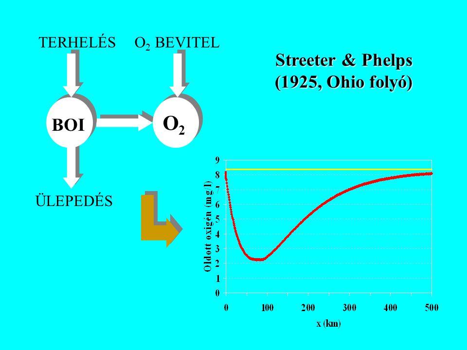 BOI O2O2 TERHELÉSO 2 BEVITEL ÜLEPEDÉS Streeter & Phelps (1925, Ohio folyó)