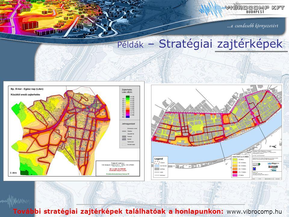 További stratégiai zajtérképek találhatóak a honlapunkon: www.vibrocomp.hu Példák – Stratégiai zajtérképek