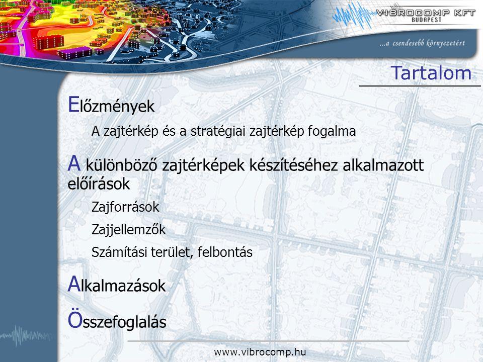 www.vibrocomp.hu Tartalom E lőzmények A zajtérkép és a stratégiai zajtérkép fogalma A különböző zajtérképek készítéséhez alkalmazott előírások Zajforr