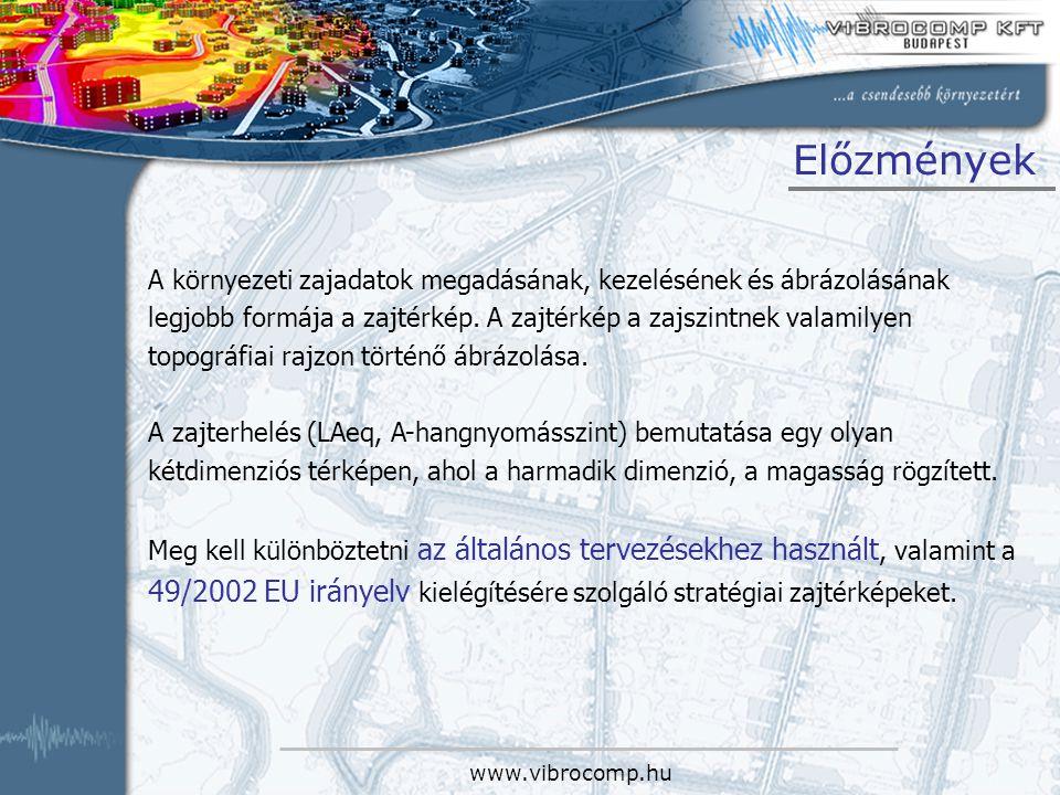 www.vibrocomp.hu Zajtérképek célja A zajvizsgálat (mérés, számítás) eredményeinek ábrázolási formája, a vizsgálat eredményeinek szemléltetése helyszínrajzon, grafikus eszközökkel.