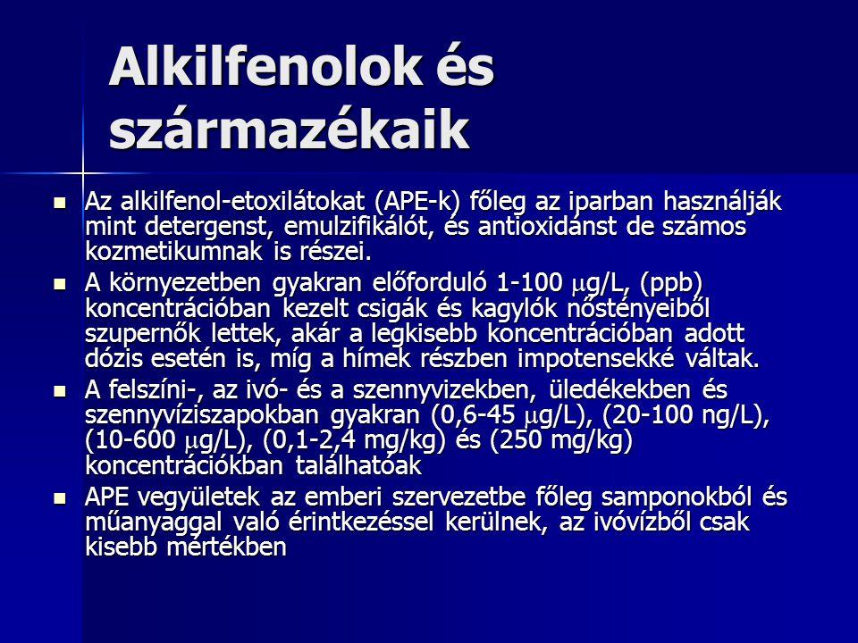 Alkilfenolok és származékaik Az alkilfenol-etoxilátokat (APE-k) főleg az iparban használják mint detergenst, emulzifikálót, és antioxidánst de számos