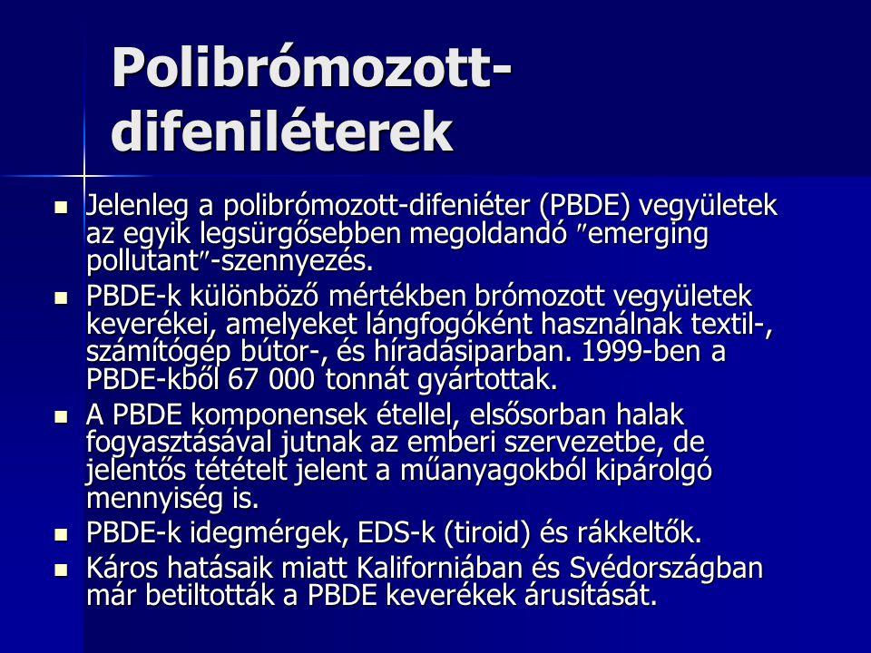 Polibrómozott- difeniléterek Jelenleg a polibrómozott-difeniéter (PBDE) vegyületek az egyik legsürgősebben megoldandó  emerging pollutant  -szennyez