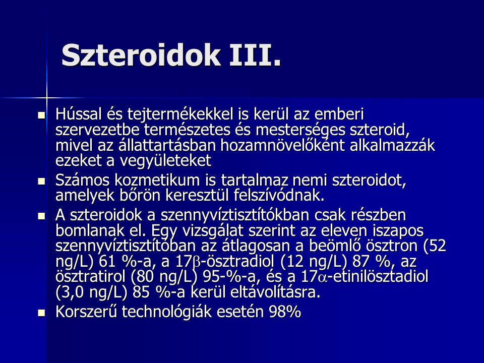 Szteroidok III. Hússal és tejtermékekkel is kerül az emberi szervezetbe természetes és mesterséges szteroid, mivel az állattartásban hozamnövelőként a