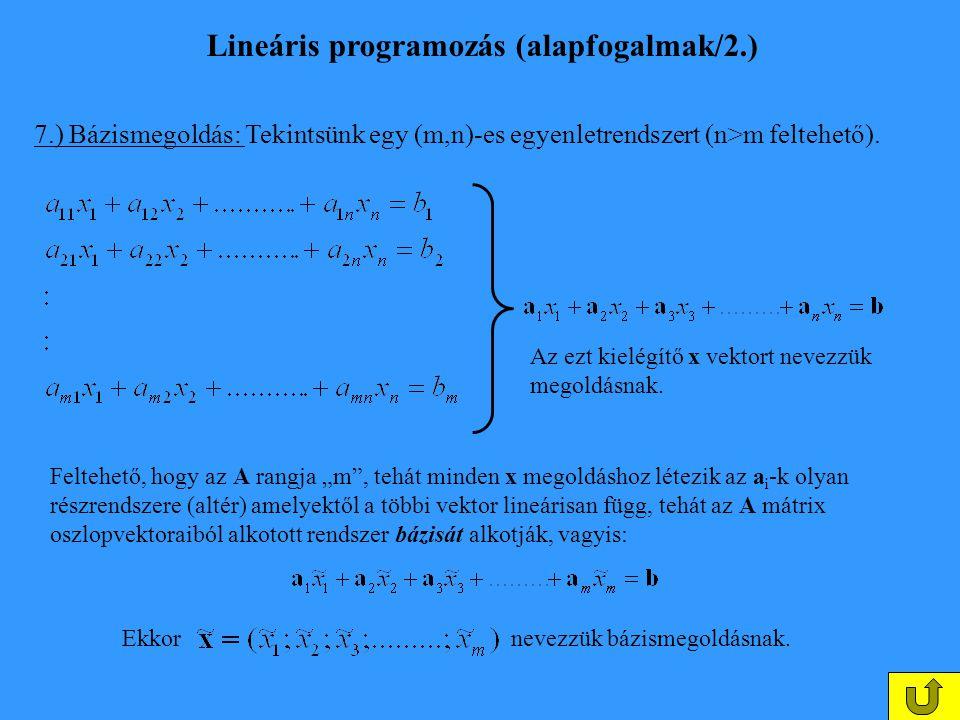 Lineáris programozás (alapfogalmak/2.) 7.) Bázismegoldás: Tekintsünk egy (m,n)-es egyenletrendszert (n>m feltehető). Az ezt kielégítő x vektort nevezz
