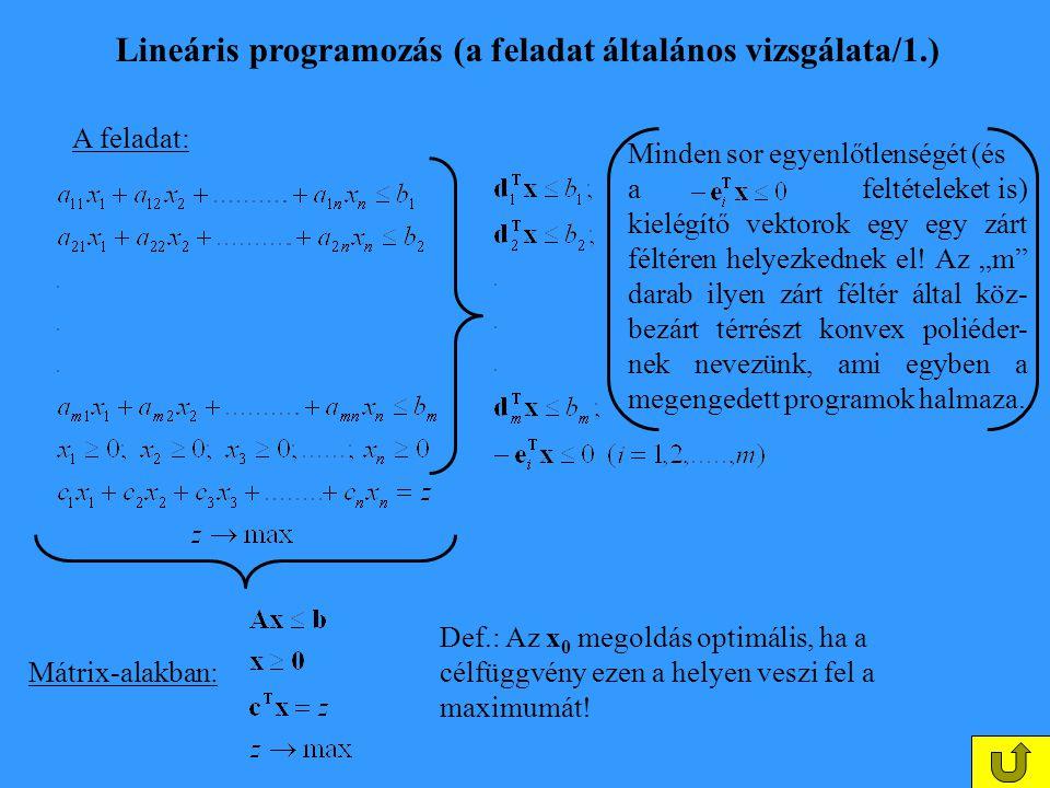 Lineáris programozás (a feladat általános vizsgálata/1.) A feladat: Minden sor egyenlőtlenségét (és a feltételeket is) kielégítő vektorok egy egy zárt