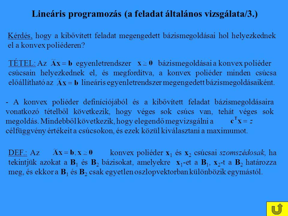 Lineáris programozás (a feladat általános vizsgálata/3.) Kérdés, hogy a kibővített feladat megengedett bázismegoldásai hol helyezkednek el a konvex po