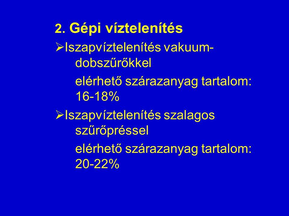 2. Gépi víztelenítés  Iszapvíztelenítés vakuum- dobszűrőkkel elérhető szárazanyag tartalom: 16-18%  Iszapvíztelenítés szalagos szűrőpréssel elérhető