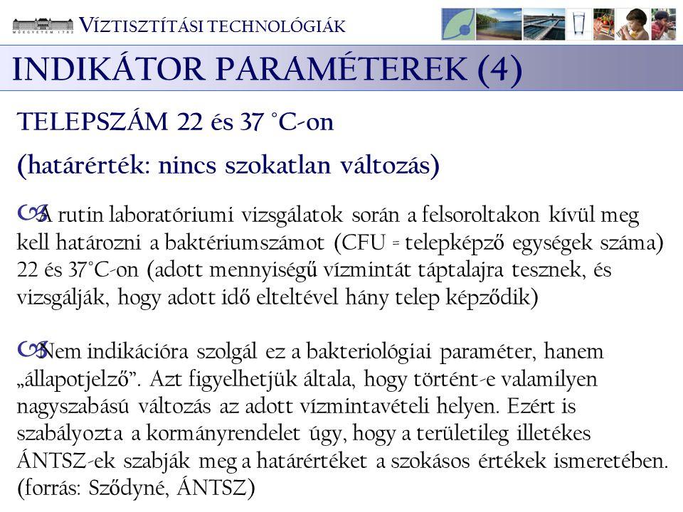 V ÍZTISZTÍTÁSI TECHNOLÓGIÁK INDIKÁTOR PARAMÉTEREK (4) TELEPSZÁM 22 és 37 °C-on (határérték: nincs szokatlan változás)  A rutin laboratóriumi vizsgála
