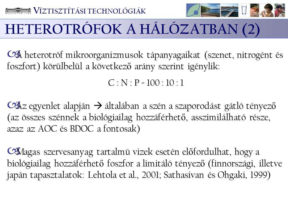 V ÍZTISZTÍTÁSI TECHNOLÓGIÁK HETEROTRÓFOK A HÁLÓZATBAN (2)  A heterotróf mikroorganizmusok tápanyagaikat (szenet, nitrogént és foszfort) körülbelül a