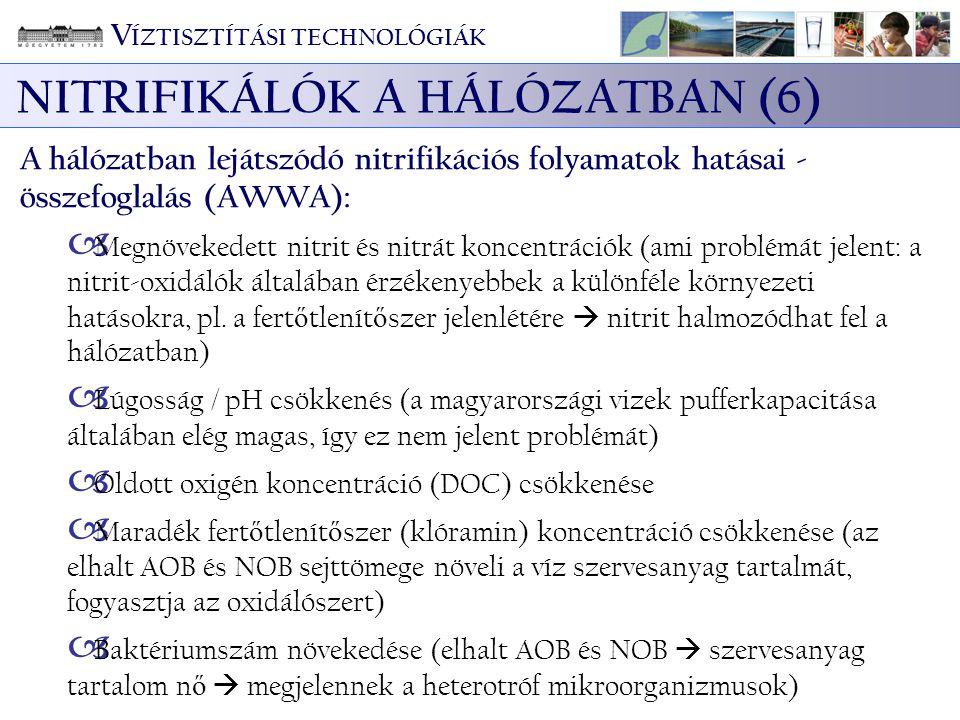 V ÍZTISZTÍTÁSI TECHNOLÓGIÁK NITRIFIKÁLÓK A HÁLÓZATBAN (6) A hálózatban lejátszódó nitrifikációs folyamatok hatásai - összefoglalás (AWWA):  Megnöveke
