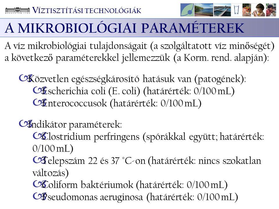V ÍZTISZTÍTÁSI TECHNOLÓGIÁK A MIKROBIOLÓGIAI PARAMÉTEREK A víz mikrobiológiai tulajdonságait (a szolgáltatott víz min ő ségét) a következ ő paramétere