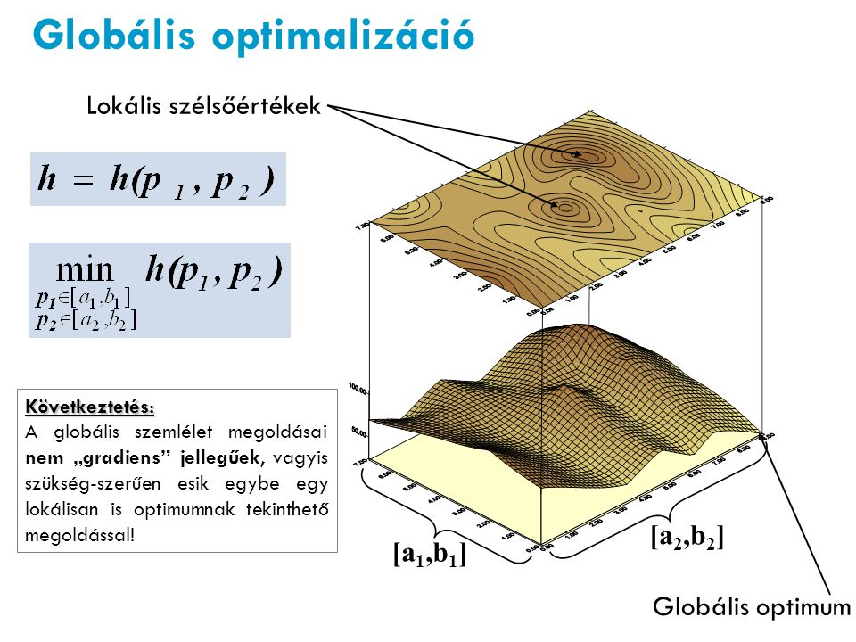 """[a 1,b 1 ] [a 2,b 2 ] Lokális szélsőértékek Globális optimum Következtetés: A globális szemlélet megoldásai nem """"gradiens"""" jellegűek, vagyis szükség-s"""
