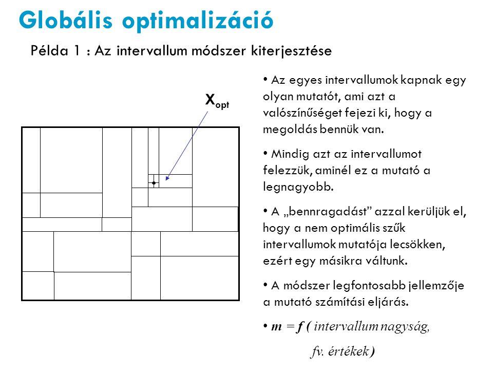 X opt x xhxh Lehatárolás (C i ) egyenes vonalakkal Globális optimalizáció Az eredeti függvényhez egy távolság arányos büntető fv-t adunk hozzá, ha kilép a határok közül.