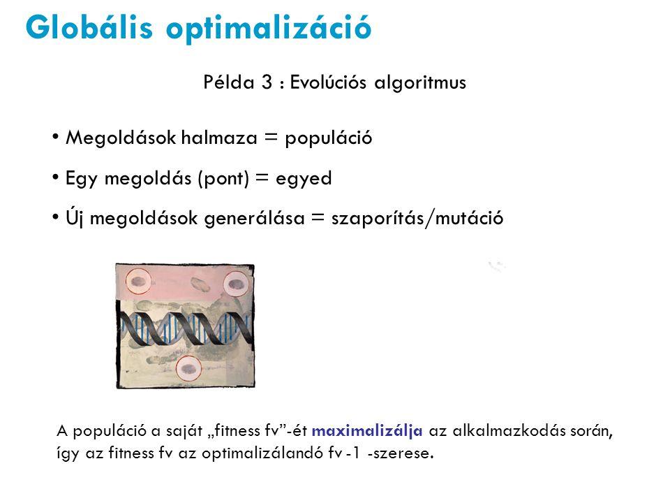 Globális optimalizáció Példa 3 : Evolúciós algoritmus Megoldások halmaza = populáció Egy megoldás (pont) = egyed Új megoldások generálása = szaporítás