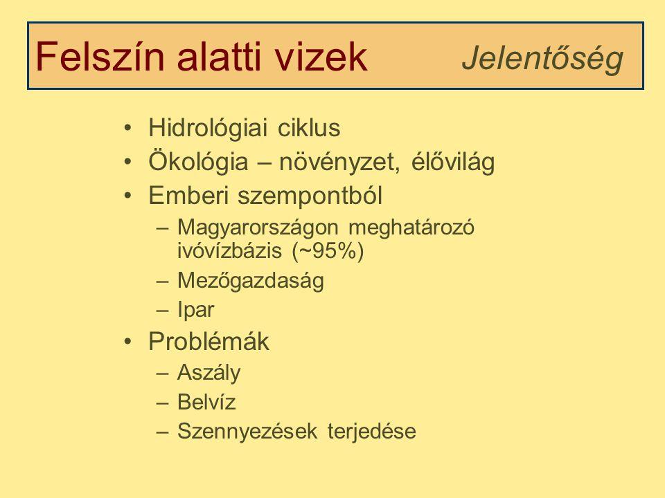 Felszín alatti vizek Hidrológiai ciklus Ökológia – növényzet, élővilág Emberi szempontból –Magyarországon meghatározó ivóvízbázis (~95%) –Mezőgazdaság –Ipar Problémák –Aszály –Belvíz –Szennyezések terjedése Jelentőség