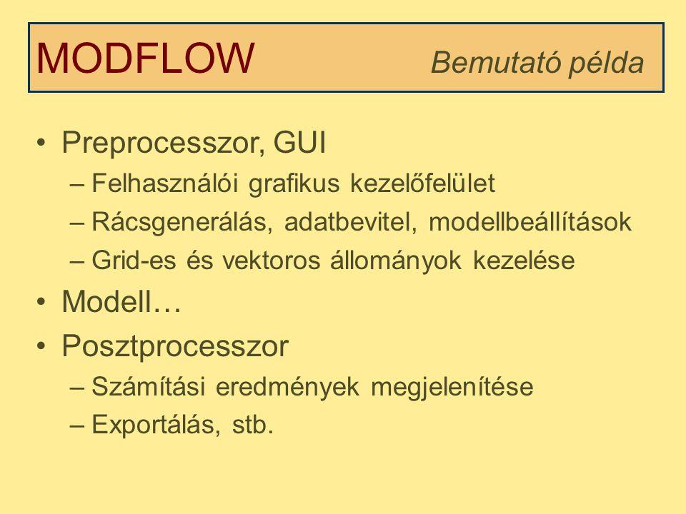 MODFLOW Bemutató példa Preprocesszor, GUI –Felhasználói grafikus kezelőfelület –Rácsgenerálás, adatbevitel, modellbeállítások –Grid-es és vektoros állományok kezelése Modell… Posztprocesszor –Számítási eredmények megjelenítése –Exportálás, stb.