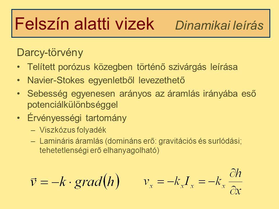 Felszín alatti vizek Darcy-törvény Telített porózus közegben történő szivárgás leírása Navier-Stokes egyenletből levezethető Sebesség egyenesen arányos az áramlás irányába eső potenciálkülönbséggel Érvényességi tartomány –Viszkózus folyadék –Lamináris áramlás (domináns erő: gravitációs és surlódási; tehetetlenségi erő elhanyagolható) Dinamikai leírás
