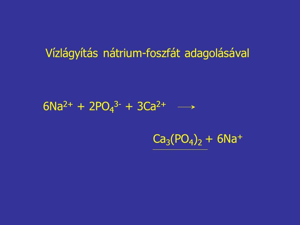 6Na 2+ + 2PO 4 3- + 3Ca 2+ Ca 3 (PO 4 ) 2 + 6Na + Vízlágyítás nátrium-foszfát adagolásával
