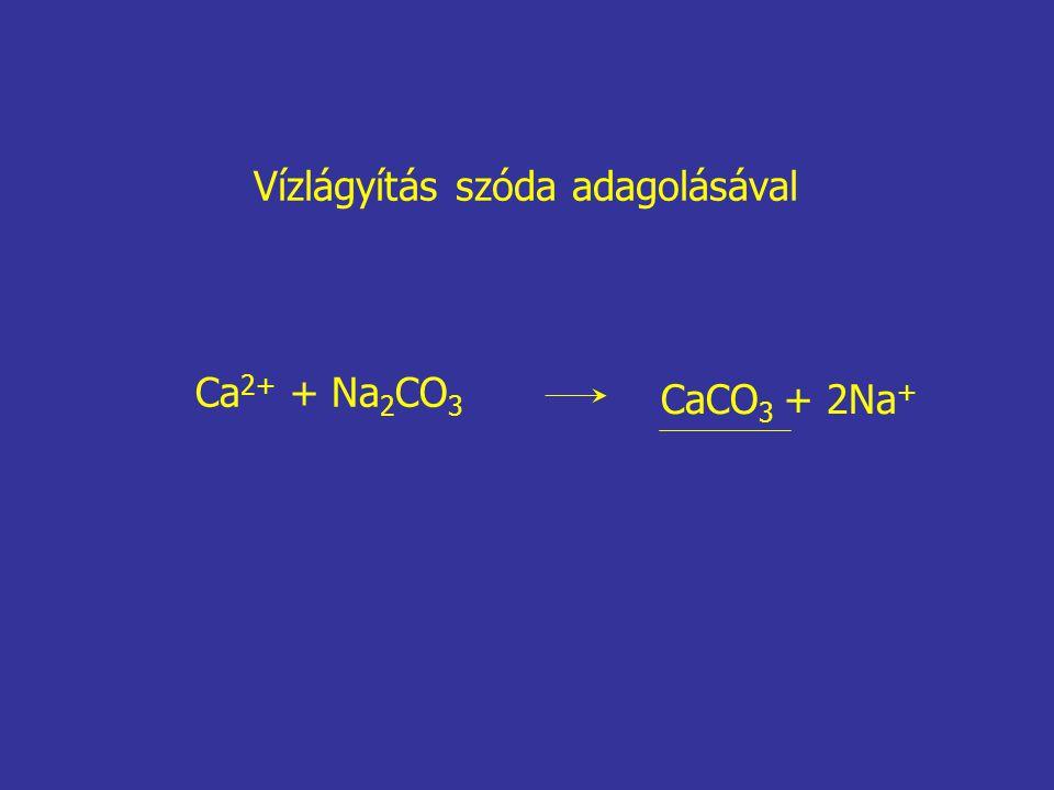 Ca 2+ + Na 2 CO 3 CaCO 3 + 2Na + Vízlágyítás szóda adagolásával
